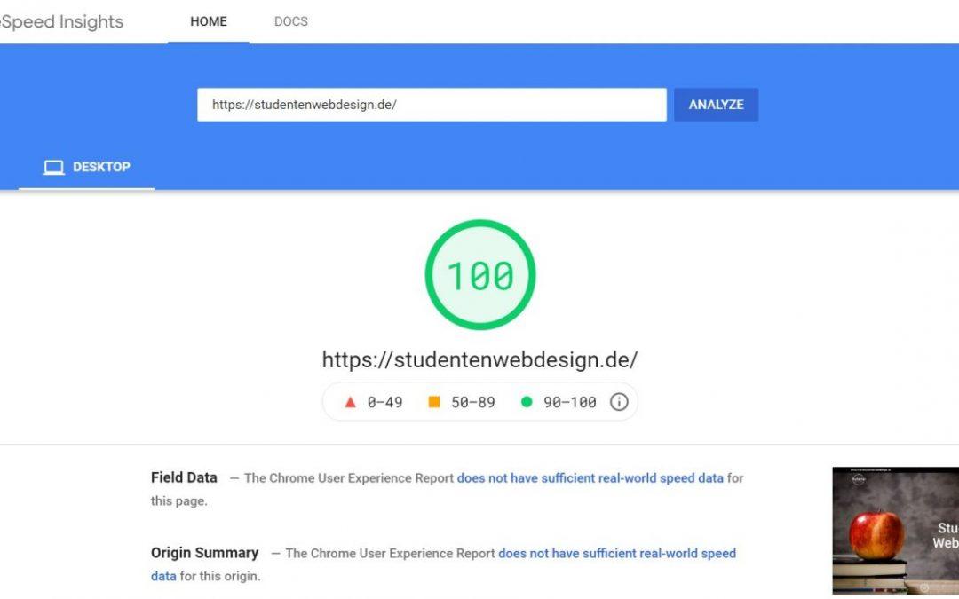 100 Punkte bei Google Page Speed